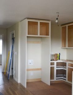 Boxing in Fridge with Cabinetry - Momplex Vanilla Kitchen | Ana White Woodworking Projects