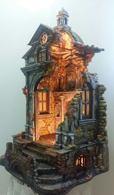 Christmas Crib Ideas, Christmas Decorations, Joshua Smith, Architectural Sculpture, Fairy Houses, Altered Books, Nativity, Craft Supplies, Waterfall