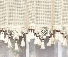 Today's Curtain Gettysburg Knitted 20-Inch Crochet with Beaded Tassel Valance