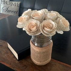 Hey, I found this really awesome Etsy listing at https://www.etsy.com/listing/386534160/stemmed-book-page-flowers-book-flowers