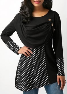 Polka Dot Print Button Embellished Black Blouse on sale only US$30.49 now, buy cheap Polka Dot Print Button Embellished Black Blouse at Rosewe.com