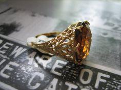 Vintage SMOKY QUARTZ Gold FILIGREE Ring by beatomicbeauty on Etsy, $32.00