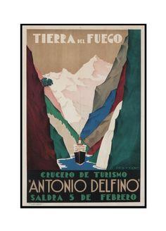 Argentina - Antonio Delfino - Tierra del Fuego - (artist: Tabrega) - Vintage Advertisement (16x24 Framed Gallery Wrapped Stretched Canvas), Multi