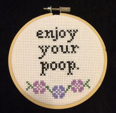 This is a cross stitch pattern, NOT finished product<< This isnt your grandmas cross stitch. Craft up this stitch to hang in your bathroom so
