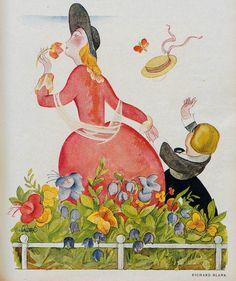 Jugend magazine cover art, by Richard Blank, 1923 Illustrations, Illustration Art, Heidelberg University, My Liberty, Blue Garden, Vintage Magazines, Art Nouveau, Art Deco, Cover Art
