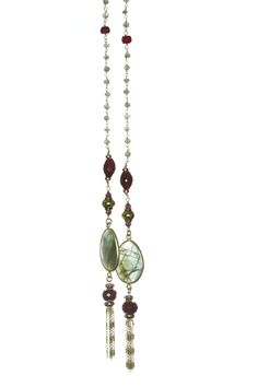 Labradorite and Ruby Lariat Necklace
