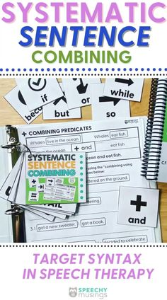 """Work on creating compound and complex sentences with this easy-to-use, systematic resource for speech therapy! Sentence combining is a research-supported skill for improving writing skills and reading comprehension in speech and language therapy. In this packet, I have included 5 levels to progress your students from simpler sentence combining work (e.g., using """"and"""" to combine sentences or embedding of adjectives/adverbs) up to more difficult sentence combining work. #speechtherapy #syntax Receptive Language, Speech Language Pathology, Speech And Language, Speech Therapy Activities, Language Activities, Figurative Language Activity, Complex Sentences, Language Development, Writing Skills"""