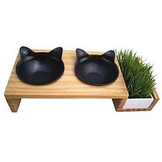 Zoxoro.com.au | ViviPet Cat Dining Table - 15° Tilted Platform Pet Feeder Solid Pine Stand with Ceramic Bowls - Elevated Cat Feeder Raised Cat Bowl Mykonos Collection