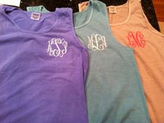 Monogrammed Comfort Color tanks by MeauxsMonogram on Etsy, $27.99....or take your own tank somewhere for much cheaper!( I pick option 2!)