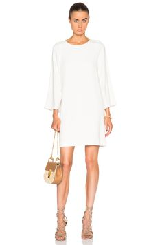 Image 1 of Helmut Lang Scooped Shift Dress in Ivory