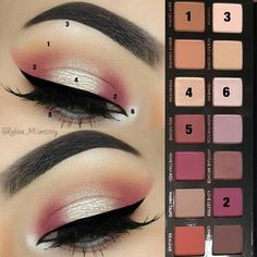 A pink shimmery eye look.