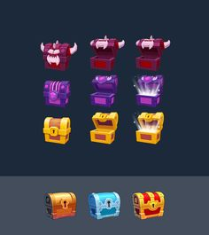 Chests on Behance Graphics Game, Game Design, Ui Design, Rose Icon, Game Item, Game Assets, Game Ui, I Icon, Cartoon Styles