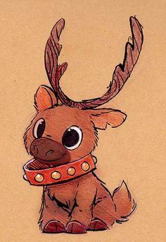 Christmas Drawings Sketchbook Daily 82 # - Reindeer D . - christmas drawings Sketchbook Daily 82 # – Reindeer Daily Paintings Book No - Cute Animal Drawings, Cool Art Drawings, Art Drawings Sketches, Disney Drawings, Easy Drawings, Winter Drawings, Unique Drawings, Disney Sketches, Cartoon Drawings