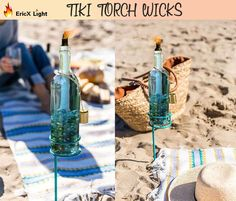 Wine Bottle Tiki Torch Kit 4 Pack by EricX Light, Includes 4 Long Life Tiki Torch Wicks ,Brass Tiki Torch Wick Holders And Brass Caps - Just Add Bottle for an Outdoor Wine Bottle Light Wine Bottle Tiki Torch, Lighted Wine Bottles, Bottle Lights, Wine Bottle Crafts, Tiki Torch Wicks, Tiki Torches, Packing Light, Outdoor Lighting, Kit
