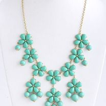 "Acrylic flower statement necklace    Chain length 20""  Center flower drop 4.5""  Lobster claw clasp with 3"" extender  Lead compliant"