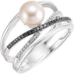 20 Best Rings Images Pearl Ring Pearl Jewelry Pearl Diamond Ring