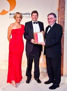 BQFAwards Peter with Louise Minchin, Ceremony Host, and Professor John Murphy – Chair of the UK Excellence Award Jury