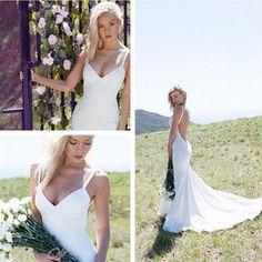 V-neck Backless Mermaid Spaghetti Strips Simple Affordable Custom size Wedding Dresses, PD0278