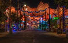 The Merriest Little Town in Carburetor County, Cars Land at Christmas in Disney California Adventure