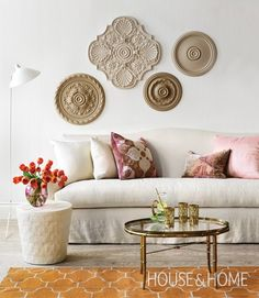 Use inexpensive ceiling medallions as art