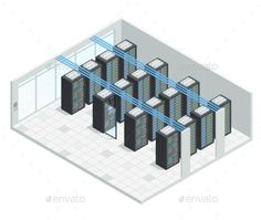 Server Room Isometric Interior by macrovector Datacenter server cloud computing isometric interior composition with four rows of hardware server case cabinet images vector illu