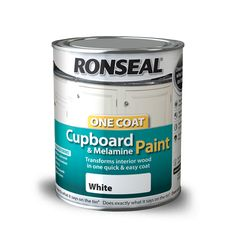 Ronseal One Coat Cupboard Paint - All Colours. Ronseal One Coat Cupboard Paint Features. For use on melamine and MDF. Leaves a stunning finish to melamine and MDF. Suitable for use on cupboards, drawers, furniture and doors in just one coat. Best Paint For Kitchen, Kitchen Paint, Kitchen Cupboards, Bedroom Cupboards, Kitchen Redo, Kitchen Storage, Cool Furniture, Painted Furniture, Bathroom Furniture