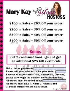 Be a Silent Hostess! Get as many orders as you can, and get the % off your sales for your order. Contact me at strutztami45@gmail.com