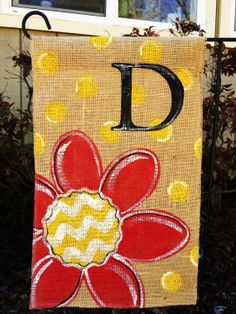Burlap Garden Flag Red Flower with Chevron and by ModernRusticGirl, $20.00