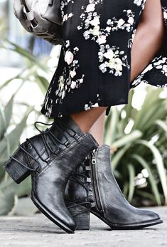 Classy and cute. These handmade black leather booties by BEDSTU feature lace-up detail as well as a comfy heel.
