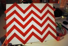 How to paint chevron....I am seriously doing this on a huge canvas with fun colors!!   # Pin++ for Pinterest #