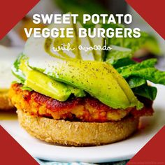 Sweet potato veggie burgers with avocado - healthy vegetarian recipe idea for dinner or lunch