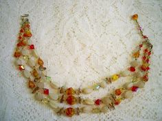 Vintage 1940s Art Glass Aurora Borealis Crystal Beaded Necklace by BlackRain4, $59.99