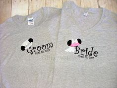 mickey and Minnie bride and groom tshirts