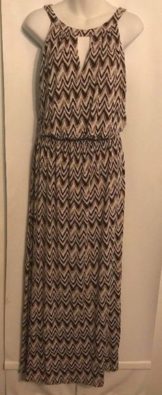 Soma Halter Dress Brown Multicolor Rayon Blend Stretchy Long Maxi Size Large #soma #MaxiSundress #Casual