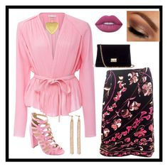 """""""Pink's and Black"""" by christinadrussell ❤ liked on Polyvore featuring Emilio Pucci, Carven, Bella Marie, Rodo, Urban Decay, Lime Crime, Fremada and Charlotte Chesnais"""