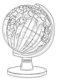 member's free globe digital stamp set outline