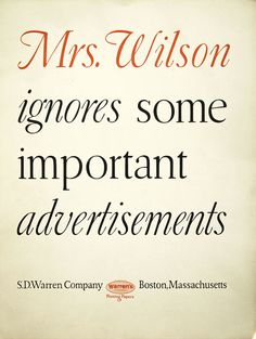 W.A. Dwiggins, full page ad for Warren's paper, 1928. USA.