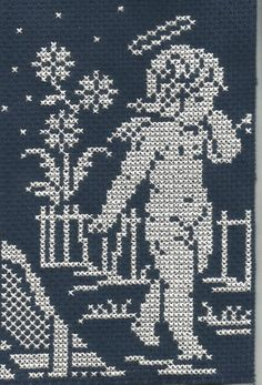`haft krzyżykowy - aniołek Cross Stitch Angels, Cross Stitch Flowers, Cross Stitch Designs, Cross Stitch Patterns, Crochet Placemats, Christmas Embroidery, Tapestry Crochet, Plastic Canvas Patterns, Filet Crochet