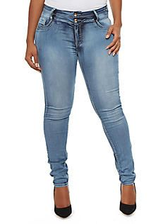 Plus Size Two Button Faded Skinny Jeans,ACID