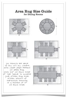 Home Decor Tips, Infographics & Cheat Sheets - Area Rug Size Guide for Dining Rooms Design Blog, Home Design, Design Ideas, Design Homes, Design Guidelines, Layout Design, Modern Design, Interior Design Tips, Home Interior