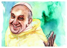 Rappler was able to take a beautiful picture of Pope Francis during that rainy Sunday before his last mass at Luneta. I wanted to see if I could capture the happiness of the photo. It was an image I wanted to remember.    - http://ricaespiritu.com/watercolor-portrait-52-of-100-2nd-portrait-of-pope-francis/ #Pontifex, #PopeFrancis