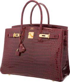 Hermes 35cm Shiny Bordeaux Porosus Crocodile Birkin Bag with Gold Hardware