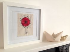 Dandelion Clock framed wall art, handmade stitched applique - can be personalised. Picture gift.