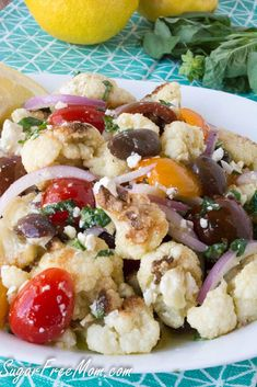 Mediterranean Roasted Cauliflower Salad is the perfect keto side dish complimenting any main entree or serving as a vegetarian main dish! Entree Recipes, Side Dish Recipes, Salad Recipes, Cooking Recipes, Healthy Recipes, Keto Recipes, Pizza Recipes, Roasted Cauliflower Salad, Vegan Cauliflower