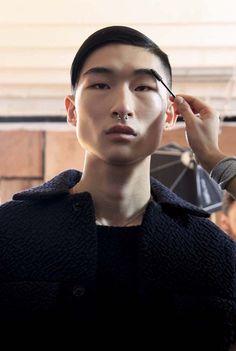 Kim Sang Woo at Matthew Miller AW14 Backstage. Photo by Sonal Suthar