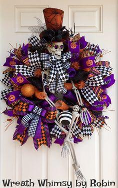 XL Halloween Deco Mesh Skeleton Wreath in Purple, Black & Orange, Front Door Wreath, Fall Wreath, Halloween Decor, Whimsical Skeleton by WreathWhimsybyRobin on Etsy