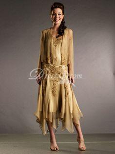 Sheath / Column Chiffon Tea Length Mother of the Bride Dress
