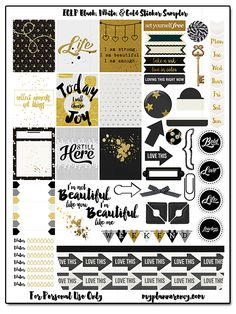 Here is another cute printable from Myplannerenvy. The printable features a good color combination of black,white and gold. It has been a trend over at Pinterest. Download this printable and make your planners more awesome!