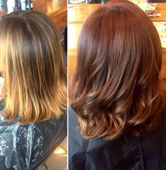 Norma Jean`s client wanted to get rid of the tired brassy blonde and go for this beautiful rich auburn with soft balyage . We just love this look.