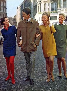 Fly-front dresses by John Bates in 'Woman's Own' magazine, British, 1966. Shown on models of different ages to illustrate the design's versatility (the man in the photo is the designer, John Bates).